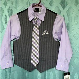 TFW boys size 8 3 piece dress shirt, vest and tie